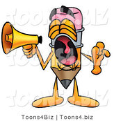 Illustration of a Cartoon Pencil Mascot Screaming into a Megaphone by Toons4Biz