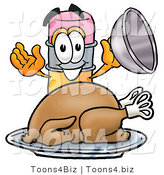 Illustration of a Cartoon Pencil Mascot Serving a Thanksgiving Turkey on a Platter by Toons4Biz