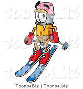 Illustration of a Cartoon Pencil Mascot Skiing Downhill by Toons4Biz