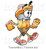 Illustration of a Cartoon Pencil Mascot Speed Walking or Jogging by Toons4Biz
