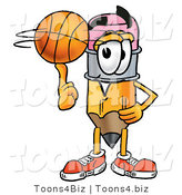 Illustration of a Cartoon Pencil Mascot Spinning a Basketball on His Finger by Toons4Biz