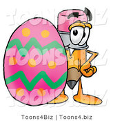 Illustration of a Cartoon Pencil Mascot Standing Beside an Easter Egg by Toons4Biz