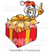 Illustration of a Cartoon Pencil Mascot Standing by a Christmas Present by Toons4Biz