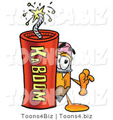 Illustration of a Cartoon Pencil Mascot Standing with a Lit Stick of Dynamite by Toons4Biz