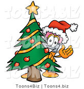Illustration of a Cartoon Pencil Mascot Waving and Standing by a Decorated Christmas Tree by Toons4Biz