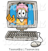 Illustration of a Cartoon Pencil Mascot Waving from Inside a Computer Screen by Toons4Biz