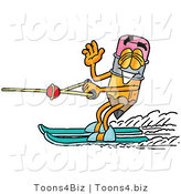 Illustration of a Cartoon Pencil Mascot Waving While Water Skiing by Toons4Biz