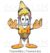 Illustration of a Cartoon Pencil Mascot Wearing a Birthday Party Hat by Toons4Biz