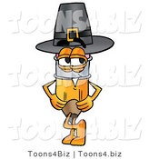Illustration of a Cartoon Pencil Mascot Wearing a Pilgrim Hat on Thanksgiving by Toons4Biz