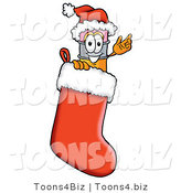 Illustration of a Cartoon Pencil Mascot Wearing a Santa Hat Inside a Red Christmas Stocking by Toons4Biz