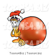 Illustration of a Cartoon Pencil Mascot Wearing a Santa Hat, Standing with a Christmas Bauble by Toons4Biz