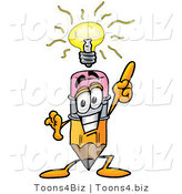 Illustration of a Cartoon Pencil Mascot with a Bright Idea by Toons4Biz