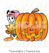 Illustration of a Cartoon Pencil Mascot with a Carved Halloween Pumpkin by Toons4Biz