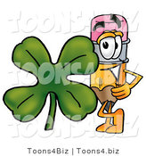 Illustration of a Cartoon Pencil Mascot with a Green Four Leaf Clover on St Paddy's or St Patricks Day by Toons4Biz