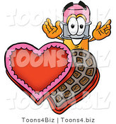 Illustration of a Cartoon Pencil Mascot with an Open Box of Valentines Day Chocolate Candies by Toons4Biz