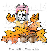 Illustration of a Cartoon Pencil Mascot with Autumn Leaves and Acorns in the Fall by Toons4Biz