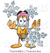 Illustration of a Cartoon Pencil Mascot with Three Snowflakes in Winter by Toons4Biz