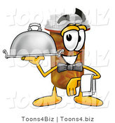 Illustration of a Cartoon Pill Bottle Mascot Dressed As a Waiter and Holding a Serving Platter by Toons4Biz