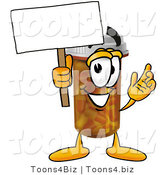 Illustration of a Cartoon Pill Bottle Mascot Holding a Blank Sign by Toons4Biz