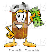 Illustration of a Cartoon Pill Bottle Mascot Holding a Dollar Bill by Toons4Biz