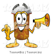 Illustration of a Cartoon Pill Bottle Mascot Holding a Megaphone by Toons4Biz