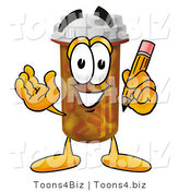 Illustration of a Cartoon Pill Bottle Mascot Holding a Pencil by Toons4Biz