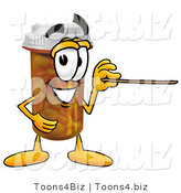 Illustration of a Cartoon Pill Bottle Mascot Holding a Pointer Stick by Toons4Biz