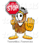 Illustration of a Cartoon Pill Bottle Mascot Holding a Stop Sign by Toons4Biz