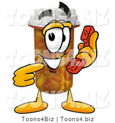 Illustration of a Cartoon Pill Bottle Mascot Holding a Telephone by Toons4Biz