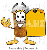 Illustration of a Cartoon Pill Bottle Mascot Holding a Yellow Sales Price Tag by Toons4Biz