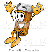 Illustration of a Cartoon Pill Bottle Mascot Jumping by Toons4Biz