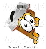 Illustration of a Cartoon Pill Bottle Mascot Peeking Around a Corner by Toons4Biz