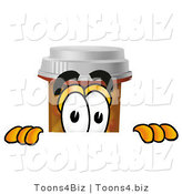 Illustration of a Cartoon Pill Bottle Mascot Peeking over a Surface by Toons4Biz