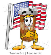Illustration of a Cartoon Pill Bottle Mascot Pledging Allegiance to an American Flag by Toons4Biz