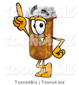 Illustration of a Cartoon Pill Bottle Mascot Pointing Upwards by Toons4Biz