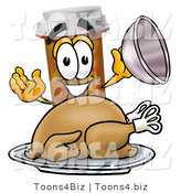 Illustration of a Cartoon Pill Bottle Mascot Serving a Thanksgiving Turkey on a Platter by Toons4Biz