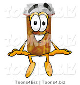 Illustration of a Cartoon Pill Bottle Mascot Sitting by Toons4Biz