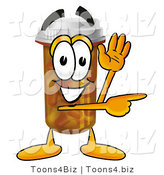 Illustration of a Cartoon Pill Bottle Mascot Waving and Pointing by Toons4Biz