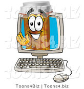 Illustration of a Cartoon Pill Bottle Mascot Waving from Inside a Computer Screen by Toons4Biz