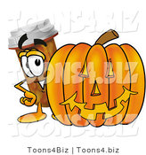 Illustration of a Cartoon Pill Bottle Mascot with a Carved Halloween Pumpkin by Toons4Biz