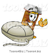 Illustration of a Cartoon Pill Bottle Mascot with a Computer Mouse by Toons4Biz