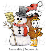 Illustration of a Cartoon Pill Bottle Mascot with a Snowman on Christmas by Toons4Biz
