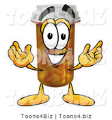 Illustration of a Cartoon Pill Bottle Mascot with Welcoming Open Arms by Toons4Biz