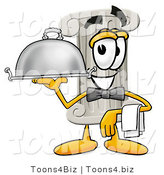 Illustration of a Cartoon Pillar Mascot Dressed As a Waiter and Holding a Serving Platter by Toons4Biz