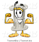 Illustration of a Cartoon Pillar Mascot Flexing His Arm Muscles by Toons4Biz