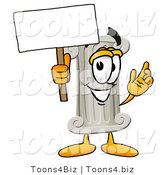 Illustration of a Cartoon Pillar Mascot Holding a Blank Sign by Toons4Biz