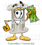 Illustration of a Cartoon Pillar Mascot Holding a Dollar Bill by Toons4Biz