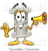 Illustration of a Cartoon Pillar Mascot Holding a Megaphone by Toons4Biz