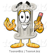 Illustration of a Cartoon Pillar Mascot Holding a Pencil by Toons4Biz