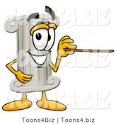 Illustration of a Cartoon Pillar Mascot Holding a Pointer Stick by Toons4Biz